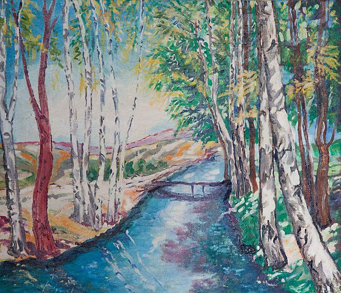 Brezový háj, olej na plátne 54 x 63 cm, Pavel Huszár, Banská Bystrica, Slovakia