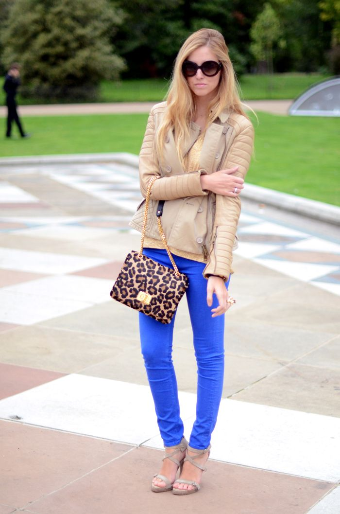 colored jeans with neutral top