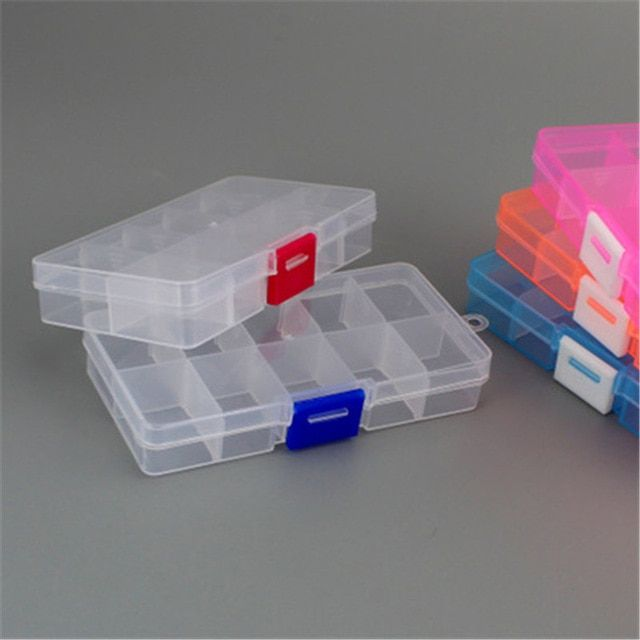 Practical Adjustable 10 Grids Compartment Plastic Storage Box Jewelry Earring Bead Screw Holder Case Display Organizer Container Review Plastic Box Storage Container Organization Bead Storage