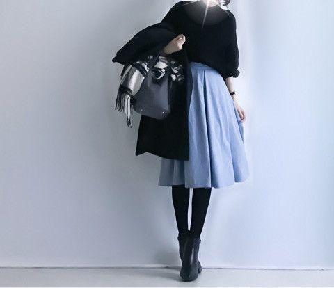【coordinate】GUきれい色スカート×モノトーンコーデ の画像|Umy's プチプラmixで大人のキレイめファッション