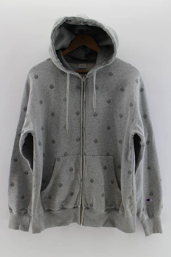 CHAMPION Hoodie Unisex Jumper Sweatshirt Grey Large Full Logo Print Vintage 90s Champion Sportswear Crewneck Champion Sweaters Size L