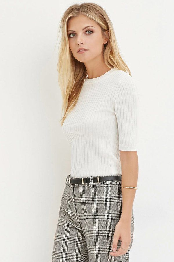 Pin for Later: The Clothing Store You Loved as a Teen Actually Sells Affordable Work Staples, Too A Short-Sleeved Sweater That Feels Like a Tee but Looks a Lot More Professional Forever 21 Contemporary Classic Ribbed Sweater ($20)