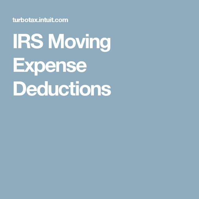 IRS Moving Expense Deductions