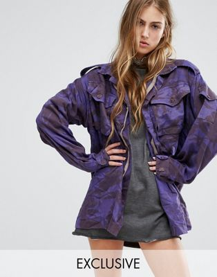 Reclaimed Vintage Overdye Military Jacket In Camo Print