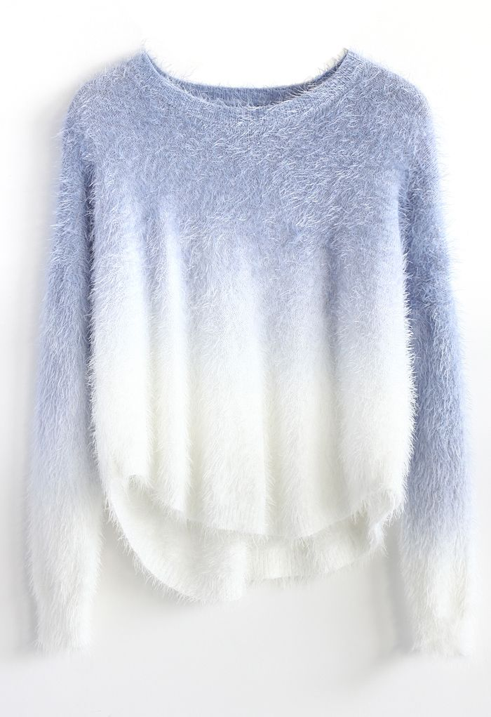 Soft Blue Ombre Mohair Sweater - Long Sleeve - Tops - Retro, Indie and Unique Fashion