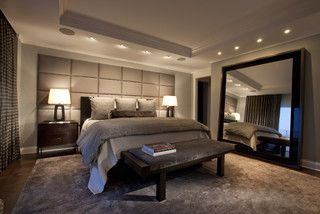 love the huge mirror, wall behind the bed and the recessed lights- by Lincoln Park West Master Bed