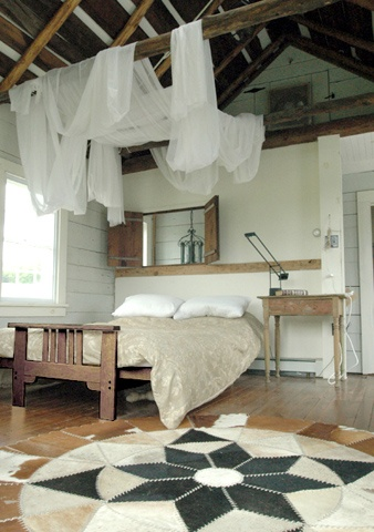Great Farmhouse Bedroom: Love The Window Into The Bedroom And The Draping Of  Fabric Over The Exposed Beams!