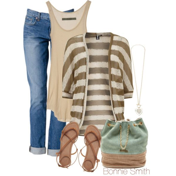 """striped cardigan"" by bonnaroosky on Polyvore"