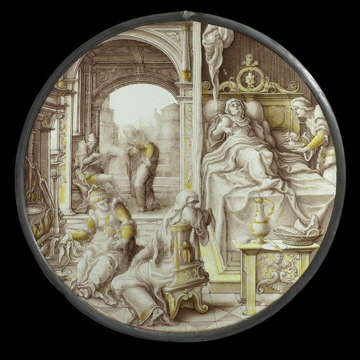 Anonymous | The Birth of John the Baptist, Anonymous, c. 1540 | Ronde gebrandschilderde ruit met een voorstelling van de Geboorte van Johannes de Doper. Elisabeth zit met opgetrokken knieën in het kraambed, in de rug gesteund door kussens. De meubels waarmee het vertrek is ingericht zijn uitgevoerd in gefantaseerde renaissancevormen en -ornament. Aan het voeteneinde staat een tafel met een kan, een mand brood en een mes. Een dienstmaagd geeft haar pap uit een kom. Maria zit op de grond bij…