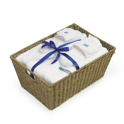 Velura Robe & Slippers in Seagrass Basket
