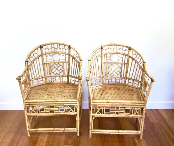 Bambou Brighton Style Vintage - chaises rotin Chippendale Cane-A paire