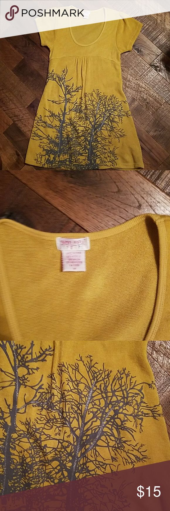 Yellow sweater dress. Funky people. Funky people dress.  Fun style. Great condition, no issues.  Very soft, light knit dress.  Cool enough for Maryland summers.   Screen print style design with silver metallic tree drawing.  This dress has a very organic nature, modern hippie style. funky people Dresses Midi