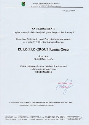 urzad pracy szkolenia certyfikat