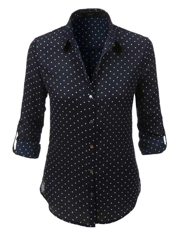 LE3NO Womens Loose Chiffon Polka Dot Button Down Blouse Top