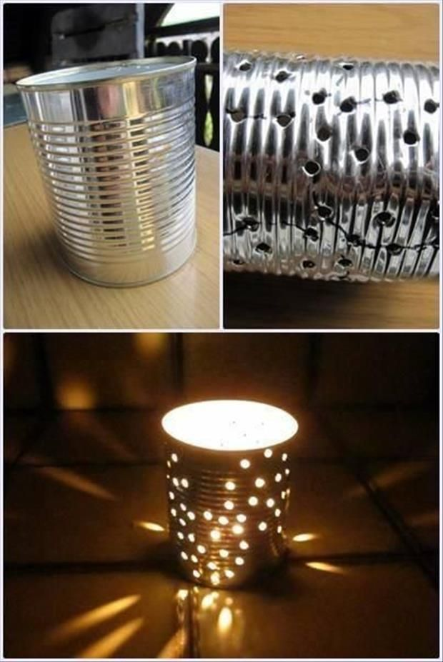 Better than just a plain candle light,  I have done this with a nail and a hammer :) It does turn out this pretty (if you don't bend up the can by hitting it with the hammer..Woops)