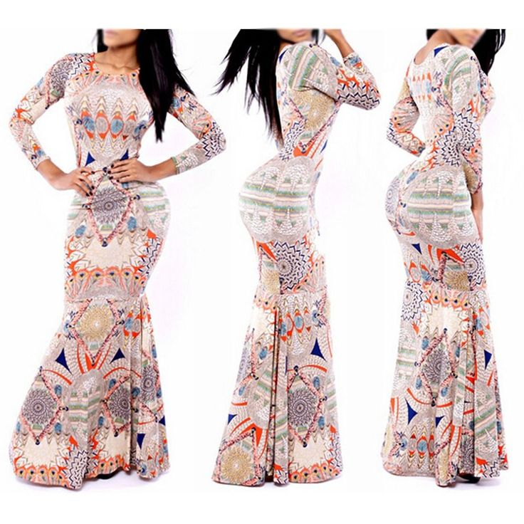 Long Sleeve O-Neck Bodycon Peplum Gown National Style Formal Maxi Dress