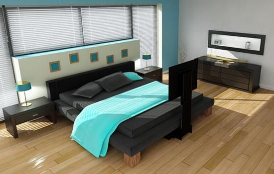Bedrooms, Under Bed Lift Future Automation White And Blue Color Wall Best Concepts Large Shaped Window Brown Color Flooring Picture Decoration Ideas Black Color Bedding Well Bedroom ~ Design Your Concept Of Bedroom Will Be Comfortable Place With The Idea Of Under The Bed TV Lift