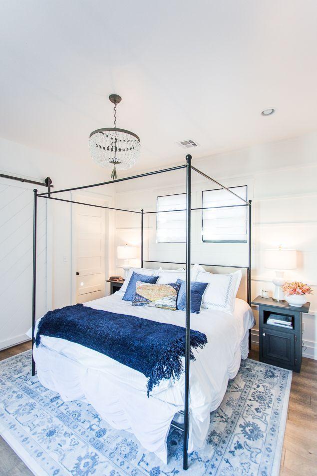 Modern farmhouse master bedroom with white shiplap