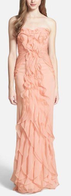 beautiful peach ruffled chiffon gown http://rstyle.me/n/nneyzr9te