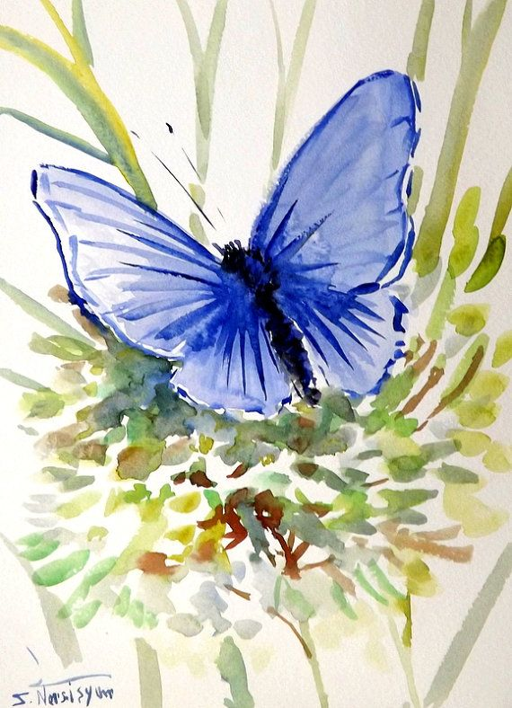 Blue BUtterfly Oriignal watercolor painting 12 X 9 by ORIGINALONLY
