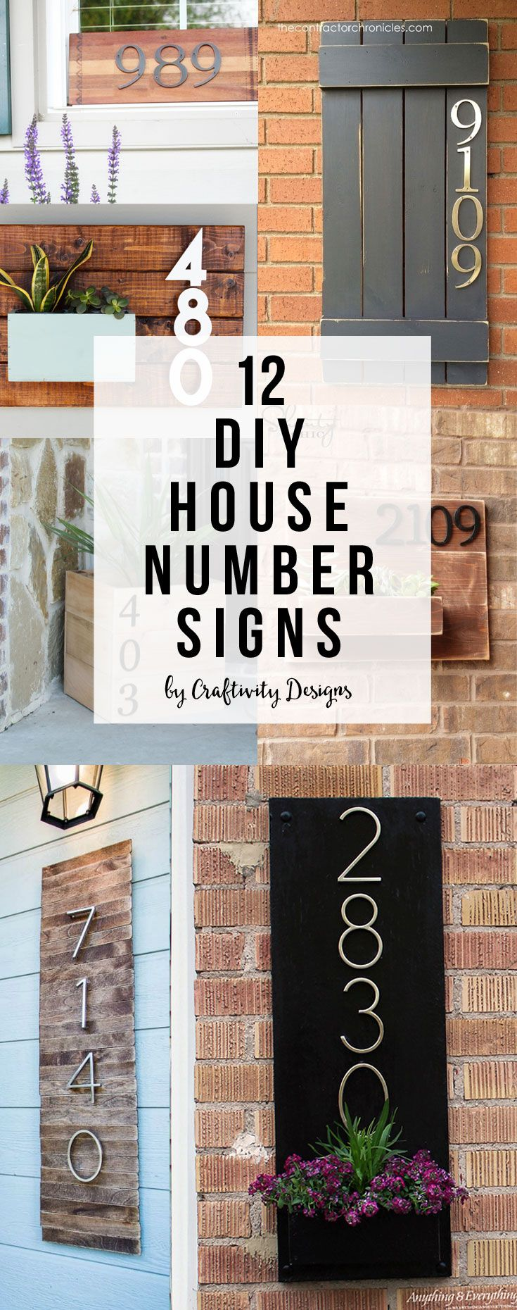 12 DIY House Number Signs, DIY House Address Sign, Street Address by  @CraftivityD