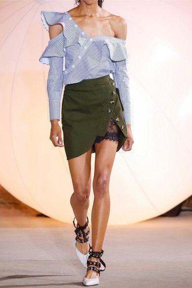 Self-Portrait - Lace-paneled Cotton-twill Mini Skirt - Army green - UK12