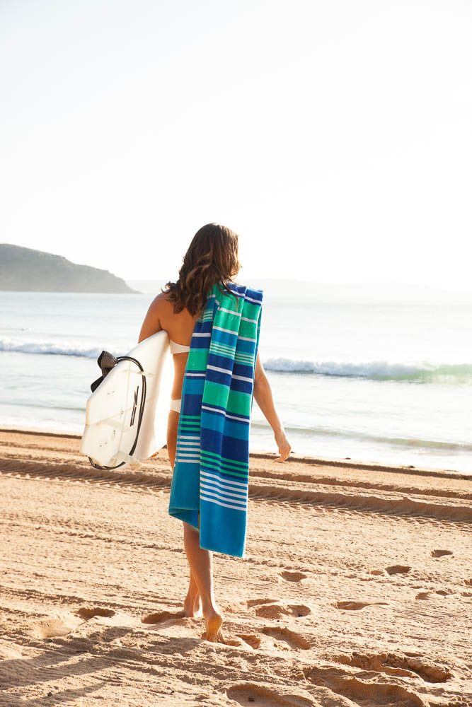 Tom's Bay Large Beach Towel - AUD $ 49.95  Our best seller is made with 100% cotton - from Turkey.  Construction – Velour one side, terry the other Weight – 450gsm Size – Large 100x180cm