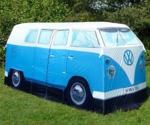 Full-Sized Replica 1965 VW Tent  Cheech and Chong would approve of this way groovy FULL-SIZED replica of a 1965 VW T1 Campervan, dude. Perfect for summer music festivals, this tent sleeps 4 and has two rooms. Far out! Cool camping gear doesn't get any more fun than this!  $442.99  (1 left) Amazon.com