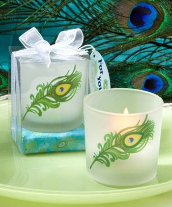 Peacock Candle Favors - Wedding Party Favors