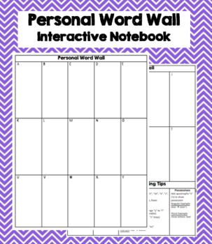 Use this personal word wall in your interactive notebook. Just chop off the edges, and it will fit in a spiral or composition notebook. Students use their personal word wall to write words that are a challenge for them to spell. They can use this as a reference later