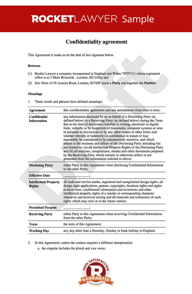 NDA - Non disclosure agreement - Confidentiality agreement