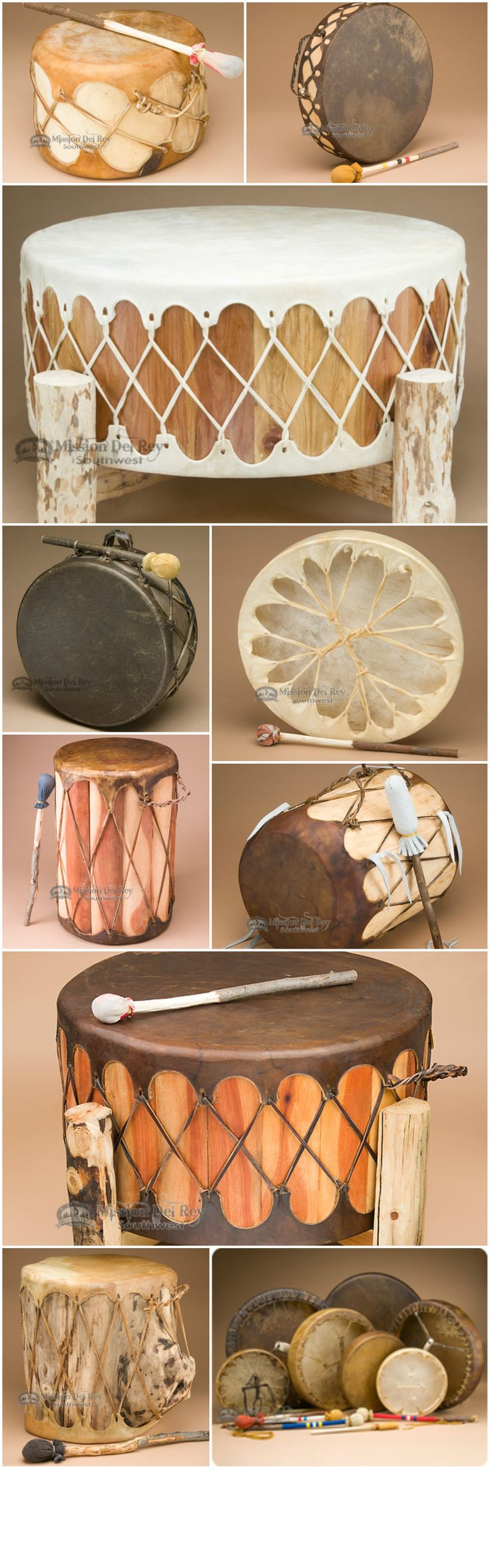 Our Native American drums are perfect for drumming groups, personal meditation, Native ceremonies, and for use as southwest decor.  All of our drums are handcrafted with quality craftsmaship and have beautiful resonating sound. See our wide selection of hand drums, table drums, pow wow drums and more at http://www.missiondelrey.com/native-american-drums/