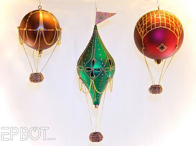 Stunning!Hotair, Balloons Tutorials, Balloons Crafts, Minis Hot, Christmas Decor, Christmas Ornaments, Hot Air Balloons, Christmas Trees, Diy Christmas