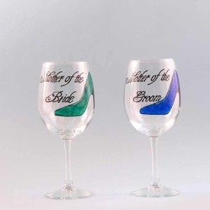 Hand painted Wedding Wine Glasses for the Mother of the Bride and Mother of the Groom. Choose a shoe color and have it personalized free. Dishwasher safe. Love, Love these!