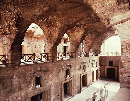 Interior of the great hall, Markets of Trajan,  		Rome, Italy, ca. 100–112 CE.