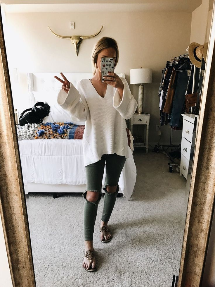 Olive skinny jeans + white sweater