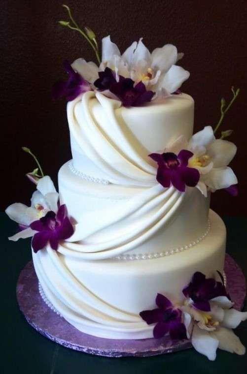 Tartas de boda con orquídeas: fotos ideas originales - Tarta de boda elegante