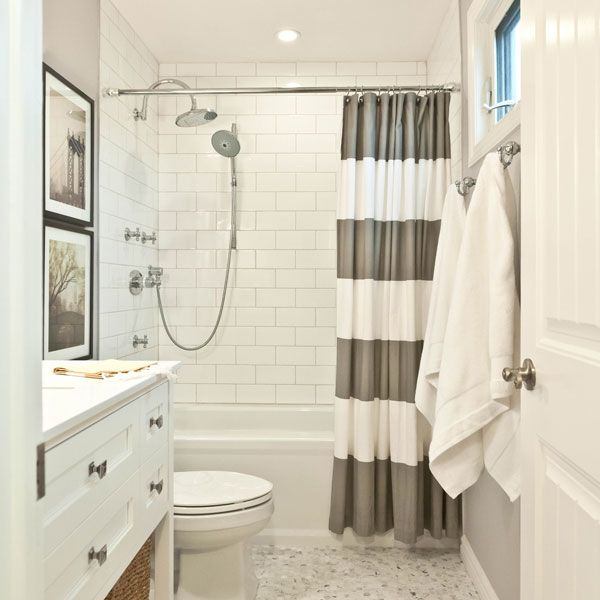 I am definitely going to do a gray and white bathroom!! From West Elm :Striped Shower Curtain in a Bathroom by Vanessa Francis
