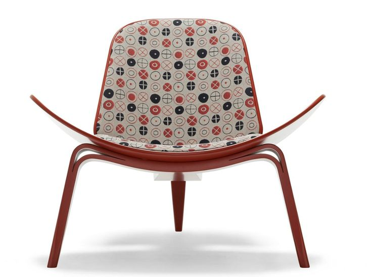 Hans Wegner Shell Chair with Eames Circles fabric