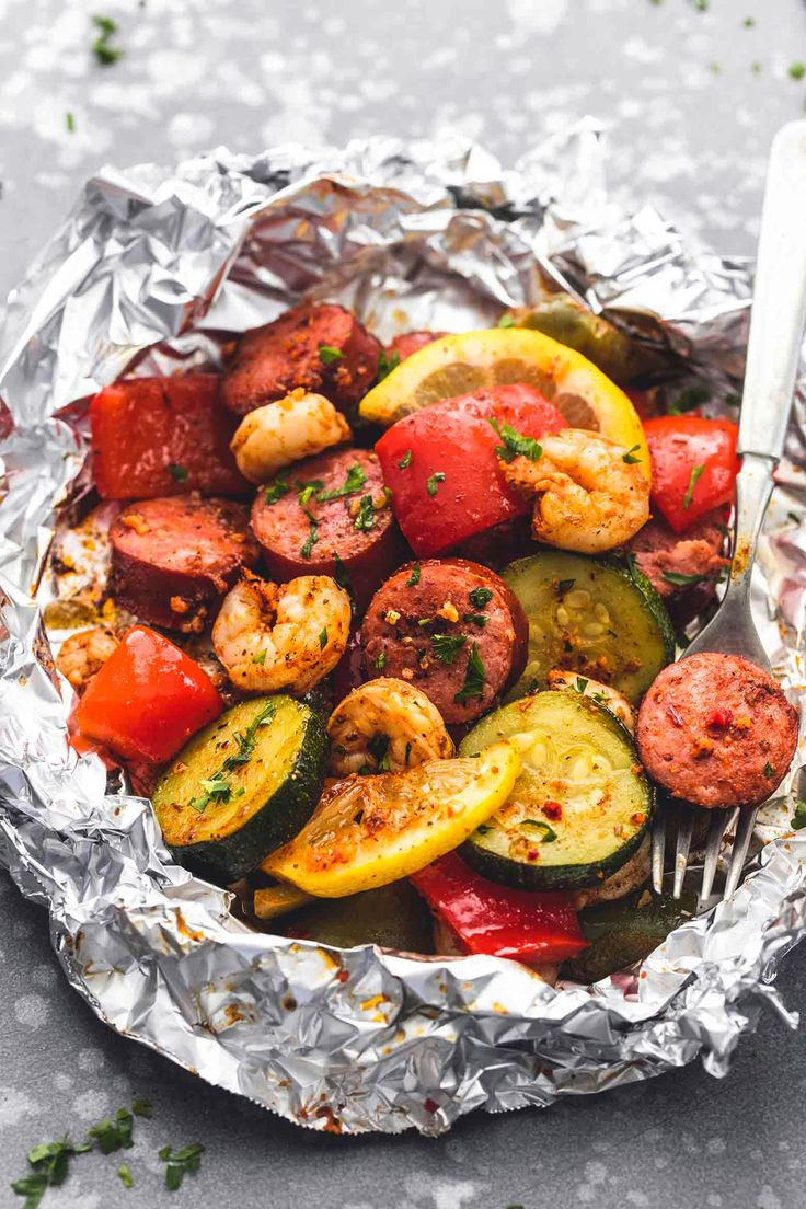 Shrimp sausage plates and vegetable foil for aluminum   – Dirty Gyro