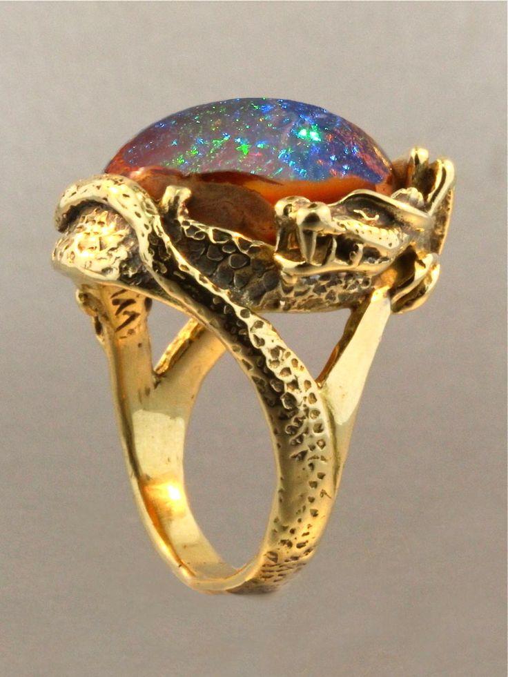 Marty Magic Store - Star Fire Lagoon Dragon Ring - Mexican Matrix Fire Opal #opalsaustralia