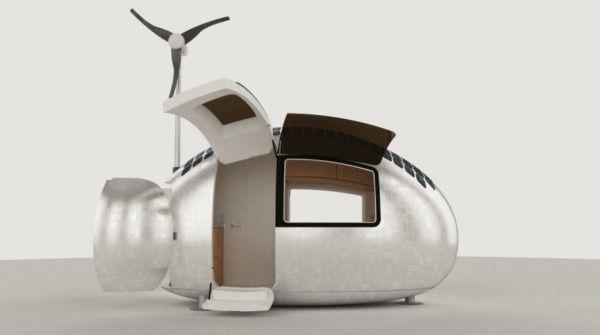 03 Ecocapsule, la micro-casa per abitare ovunque  Lo studio Nice Architects di Bratislava presenta questa piccolissima abitazione con cucina, camera da letto e bagno, capace di autoalimentarsi grazie a una pala eolica e ai pannelli solari installati sul tetto