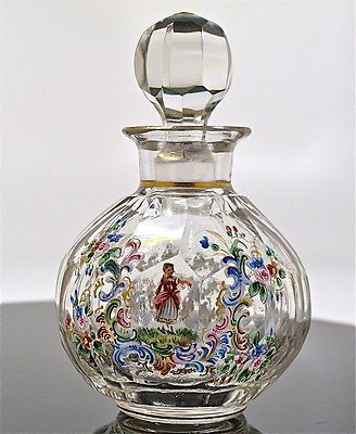 Antique Victorian Enameled Flower with Figures Perfume Bottle