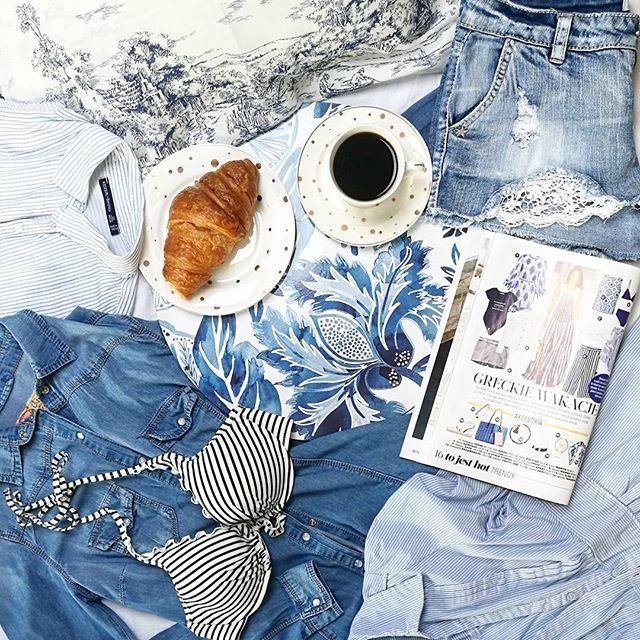 Z niecierpliwością odliczam czas do urlopu i kompletuję wakacyjną walizkę 😊#blue #colors #strips #bluestripes #denim #jeans #blouse #dress #summer #morning #coffee #hm #lacestyle #altomdesign #flatlaystyle #casualwear