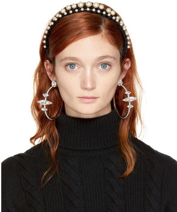 Miu Miu Black Velvet and Pearl Double Headband