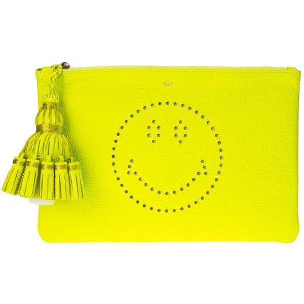 Neon Yellow Leather Georgiana Smiley Clutch ($340) ❤ liked on Polyvore featuring bags, handbags, clutches, womenbagsclutches, yellow, real leather purses, yellow clutches, leather clutches, neon yellow clutches and neon yellow purse