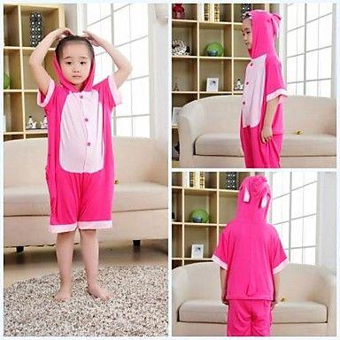 Kids Pink Stitch Modal Kigurumi Pajamas For Summer