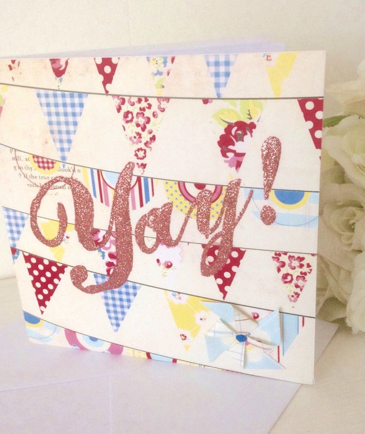 A personal favourite from my Etsy shop https://www.etsy.com/uk/listing/504683138/glitter-text-yay-card