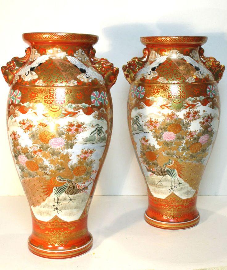 EXCEPTIONAL LARGE PAIR OF ANTIQUE 19thC JAPANESE MEIJI (1868-1912) KUTANI VASES