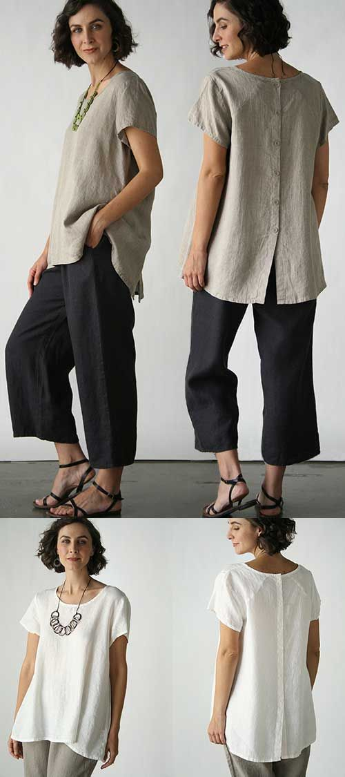 Blossom Blouse Solid in our Flax Neutral 2016 - alternation idea, has assymetrical hem